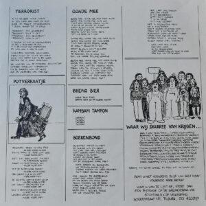 achterzijde inlegvel albumhoes Diarree RK Veulpoepers BV